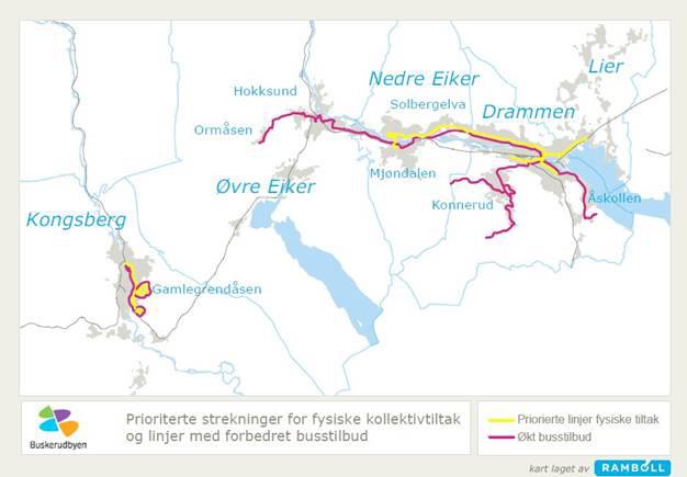 Kart infrastruktur Buskerudbyområdet