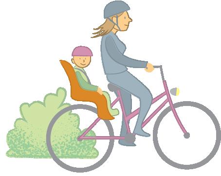 Dame sykler med barn